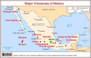 Map Mexicaanse vulcanen gordel