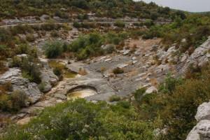 Habitat in de Ardèche, opgedroogde rivierbedding midden in de zomer.