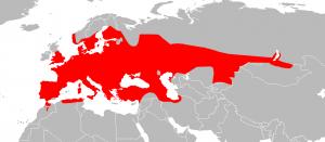 Fig. 1. Verspreidingsgebied van ringslangen.